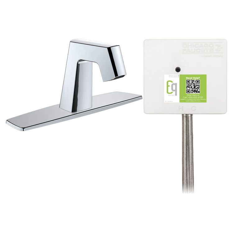 View 2 of Chicago Faucet EQ-B13A-52ABCP Chicago Faucets EQ-B13A-52ABCP EQ Chrome EQ Angular Series Lavatory Sink Faucet with Hands-free Infrared Detection