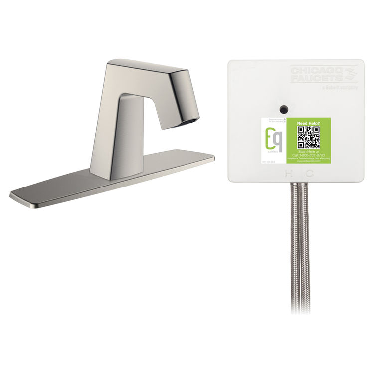 View 2 of Chicago Faucet EQ-B13B-22ABBN Chicago Faucets EQ-B13B-22ABBN EQ Brushed Nickel EQ Angular Series Lavatory Sink Faucet with Hands-free Infrared Detection