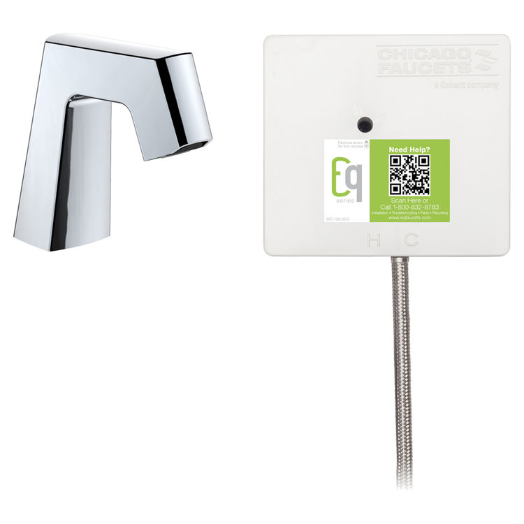 View 2 of Chicago Faucet EQ-B11A-51ABCP Chicago Faucets EQ-B11A-51ABCP EQ Chrome EQ Angular Series Lavatory Sink Faucet with Hands-free Infrared Detection