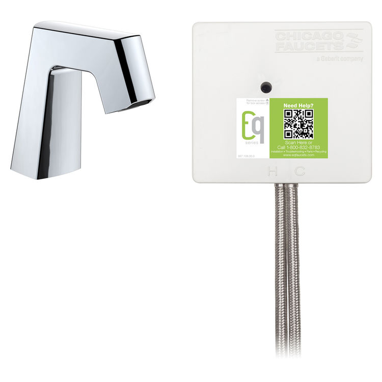 View 2 of Chicago Faucet EQ-B11B-22ABCP Chicago Faucets EQ-B11B-22ABCP EQ Chrome EQ Angular Series Lavatory Sink Faucet with Hands-free Infrared Detection