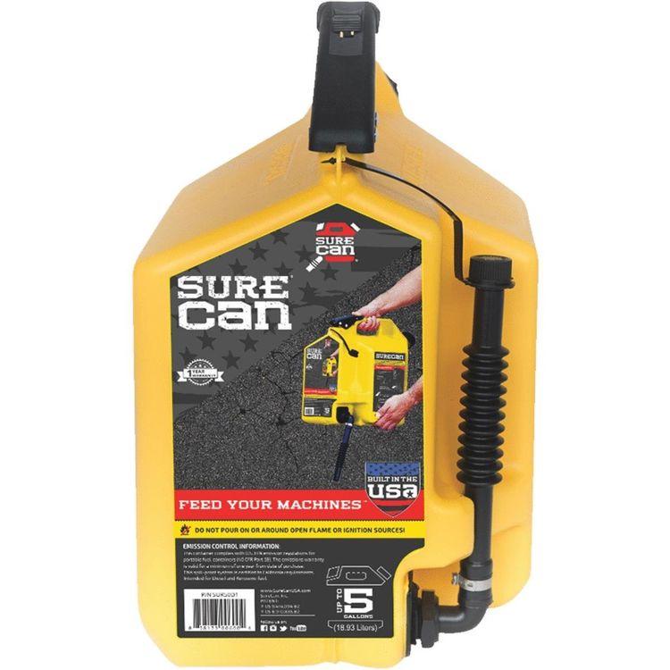 View 2 of SureCan SUR50D1 SureCan 5 Gallon Yellow Gas Can for Diesel Fuel - SUR50D1