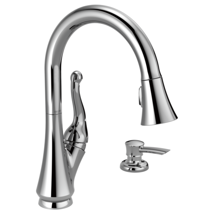 View 2 of Delta 16968-SD-DST Delta 16968-SD-DST Talbott Chrome Kitchen Pulldown Faucet With Soap Dispenser