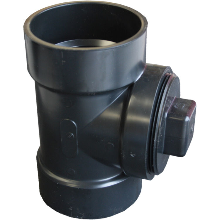 Commodity  3 Inch ABS Cleanout Tee with Plug, ABS Construction