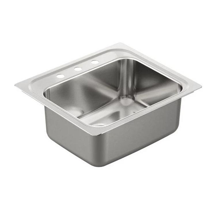 Moen G181953Q Moen G181953Q 25-In x 22-In Stainless Drop-In Single Bowl 3-Hole Sink