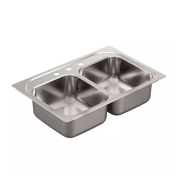 Moen G182133Q Moen G182133Q 33-In x 22-In Stainless Drop-In Double Bowl 3-Hole Sink