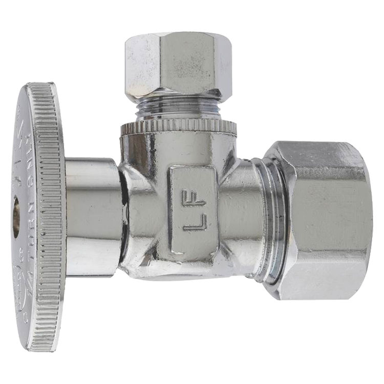 Plumb Pak PP2659PCLF Plumb Pak PP2659PCLF Quarter Turn Angle Stop Valve, 5/8 X 3/8 in, Compression X Compression, Brass, Chrome Plated
