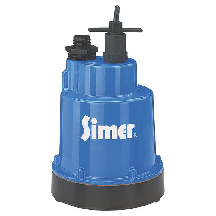 Simer 2300 Simer 2300 Submersible Utility Pump, 1320 Max gph, 1/4 hp, 115 VAC, 5.6 A, 60 Hz, 8 ft