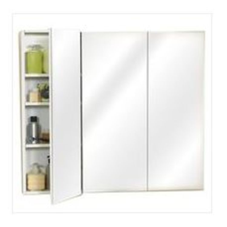 View 2 of Zenith M36 Zenith M36 Beveled Edge Mirrored Frameless Tri-View Medicine Cabinet, 36 in W X 3-3/4 in D, White
