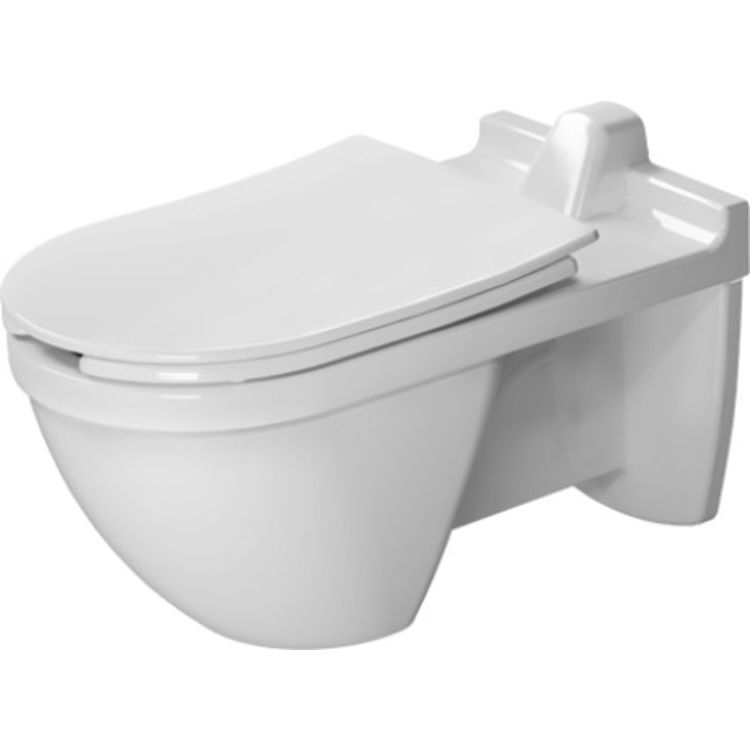 View 6 of Duravit 2560090000 Duravit 2560090000 Starck 3 Single Flush One-Piece Wall Mounted Elongated Toilet in White Finish