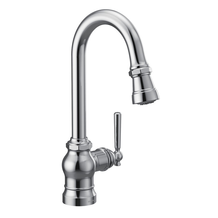 View 2 of Moen S52003 Moen S52003 Paterson Single-Handle Pulldown Bar/Prep Faucet - Chrome, Lever/Wheel Handles Included