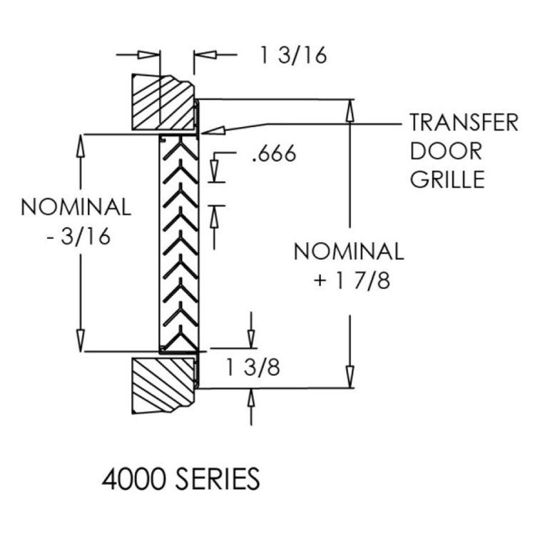 View 7 of Shoemaker 4000-16X16 16X16 Driftwood Tan Single Frame Aluminum Transfer Door Grille (Aluminum) - Shoemaker 4000