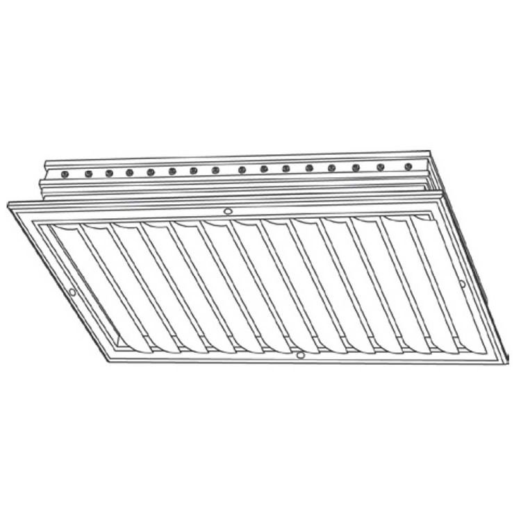 View 3 of Shoemaker CB10-30X8 30X8 Soft White One-Way Adjustable Curved Blade Diffuser (Aluminum) - Shoemaker CB10