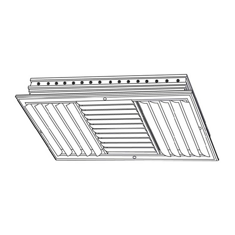 View 4 of Shoemaker CB30-24X8 24X8 Soft White Three-Way Adjustable Curved Blade Diffuser (Aluminum) - Shoemaker CB30