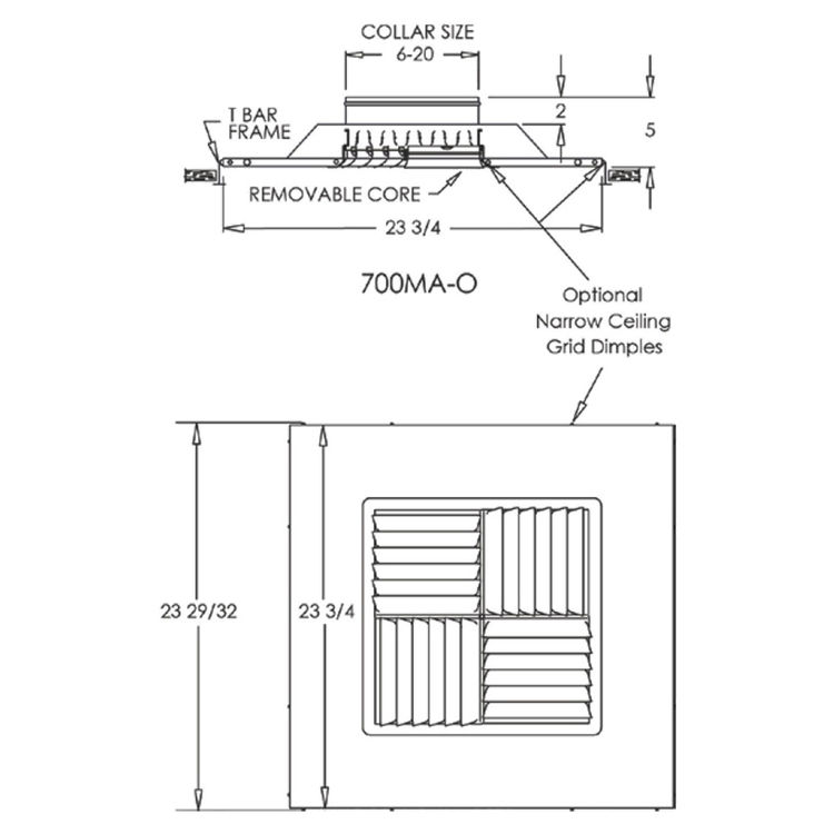 View 5 of Shoemaker 700MA0-8X8-7 8X8-7 Soft White Modular Core Diffuser in T-Bar Panel Opposed Blade Damper- Shoemaker 700MA-0