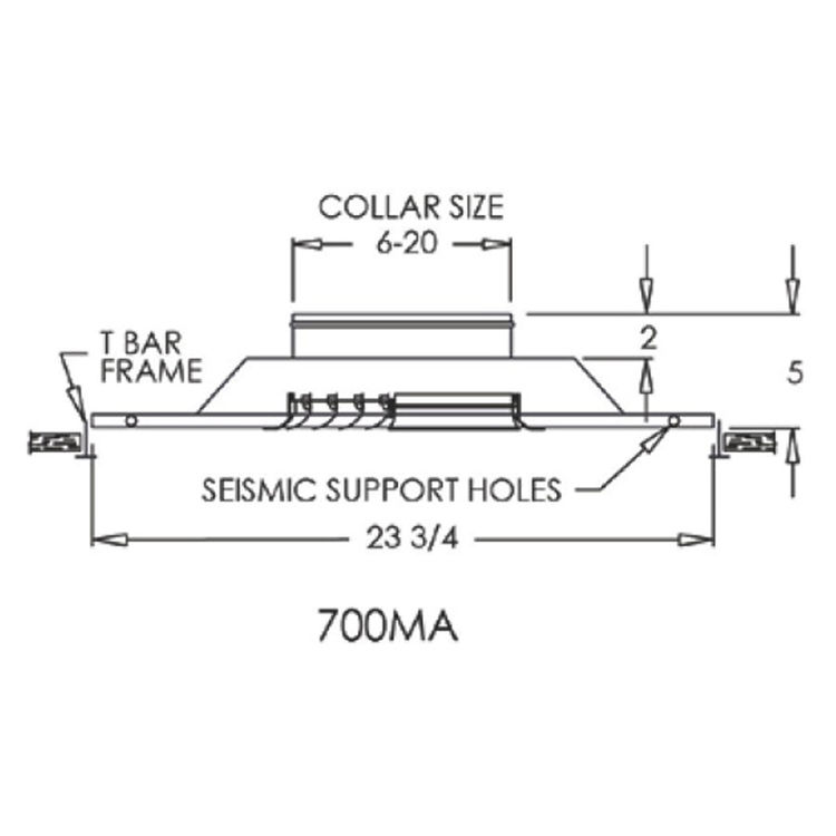 View 3 of Shoemaker 700MA0-16X16-14 16X16-14 Soft White Modular Core Diffuser in T-Bar Panel Opposed Blade Damper- Shoemaker 700MA-0
