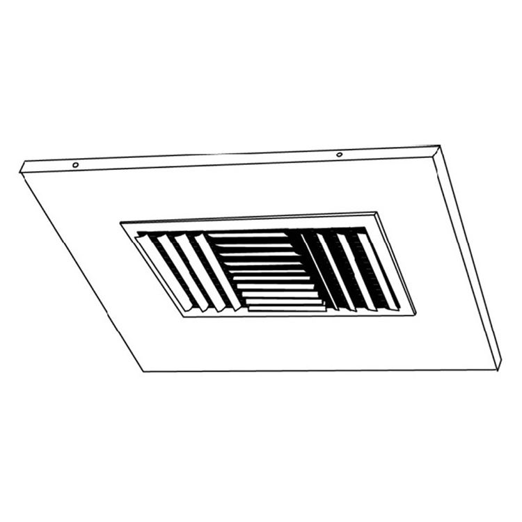 View 3 of Shoemaker 700CB40-0-16X16-12 16X16-12 Soft White Adjustable Curved Blade Diffuser in T-Bar Panel Opposed Blade Damper -Shoemaker 700CB40-0 Series