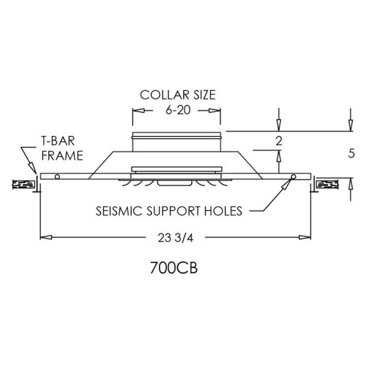 View 3 of Shoemaker 700CB40-0-18X18-8 18X18-8 Soft White Adjustable Curved Blade Diffuser in T-Bar Panel Opposed Blade Damper - Shoemaker 700CB40-0 Series
