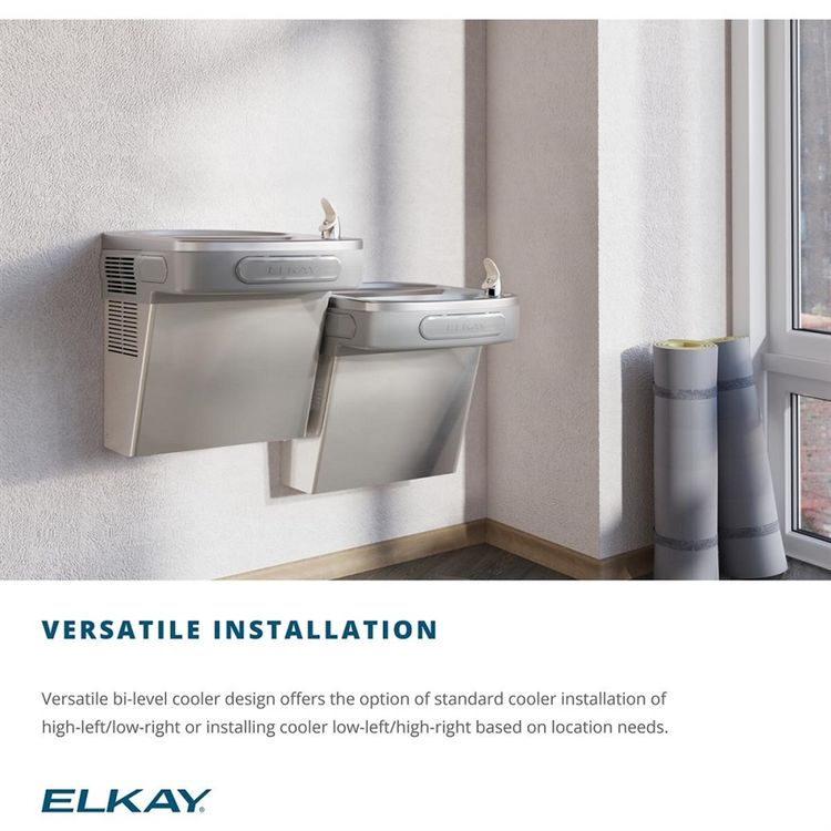 View 5 of Elkay EZSTL8LC Elkay EZSTL8LC Versatile Cooler - Bi-Level, Non-Filtered, 8 GPH, Wall Mount, ADA, Light Gray Granite