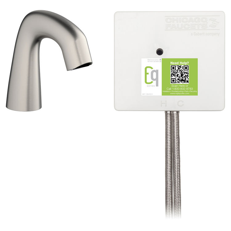 View 3 of Chicago Faucet EQ-A11A-51ABBN Chicago Faucets EQ-A11A-51ABBN EQ Brushed Nickel EQ Curved Series Lavatory Sink Faucet with Hands-free Infrared Detection