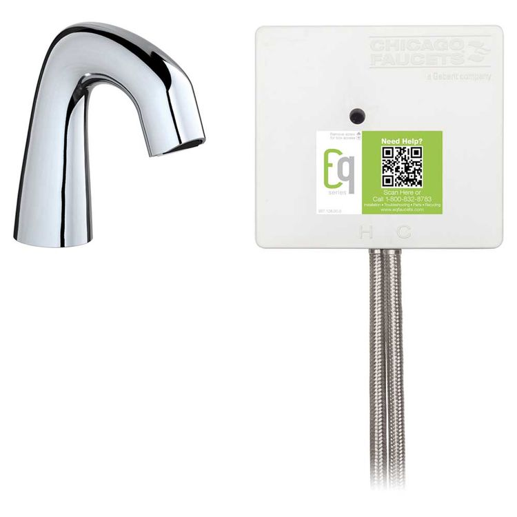 View 3 of Chicago Faucet EQ-D11A-11ABCP-MP Chicago Faucets EQ-D11A-11ABCP-MP EQ Chrome EQ Curved Series Lavatory Sink Faucet with Hands-free Infrared Detection - Master Pack of 6