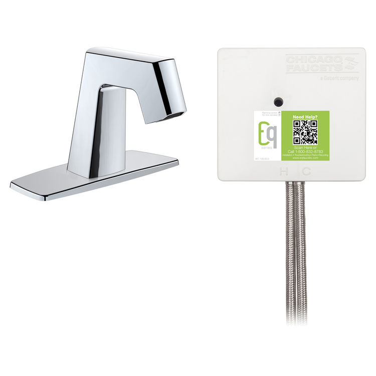 View 3 of Chicago Faucet EQ-B12A-52ABCP Chicago Faucets EQ-B12A-52ABCP EQ Chrome EQ Angular Series Lavatory Sink Faucet with Hands-free Infrared Detection