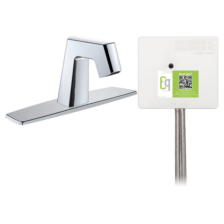 View 3 of Chicago Faucet EQ-B13A-13ABCP Chicago Faucets EQ-B13A-13ABCP EQ Chrome EQ Angular Series Lavatory Sink Faucet with Hands-free Infrared Detection