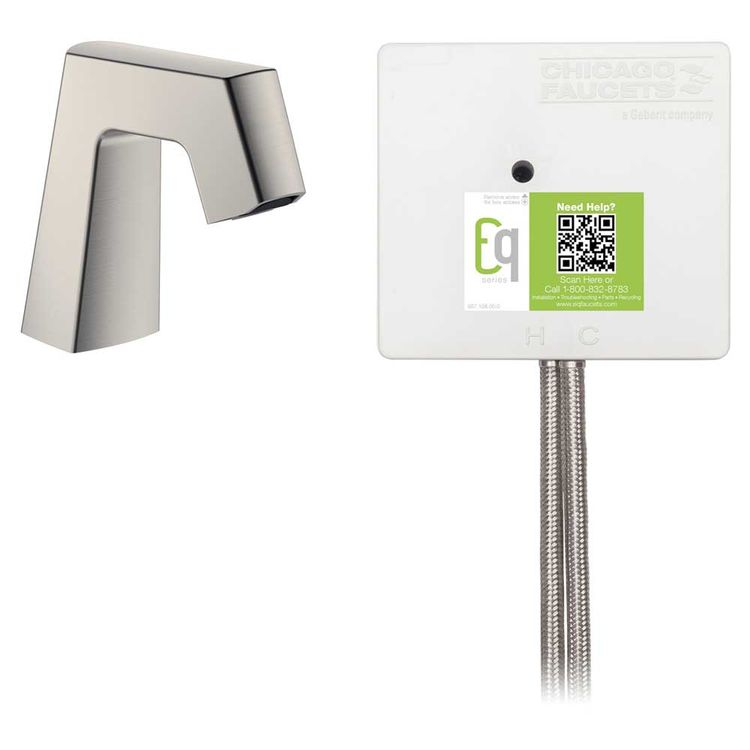 View 3 of Chicago Faucet EQ-B11A-12ABBN Chicago Faucets EQ-B11A-12ABBN EQ Brushed Nickel EQ Angular Series Lavatory Sink Faucet with Hands-free Infrared Detection