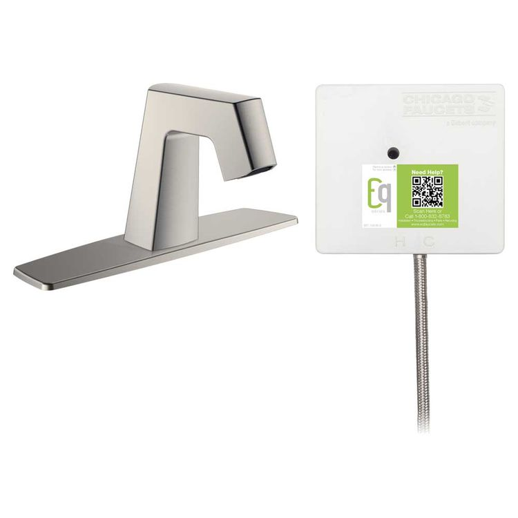 View 3 of Chicago Faucet EQ-B11B-23ABBN Chicago Faucets EQ-B11B-23ABBN EQ Brushed Nickel EQ Angular Series Lavatory Sink Faucet with Hands-free Infrared Detection