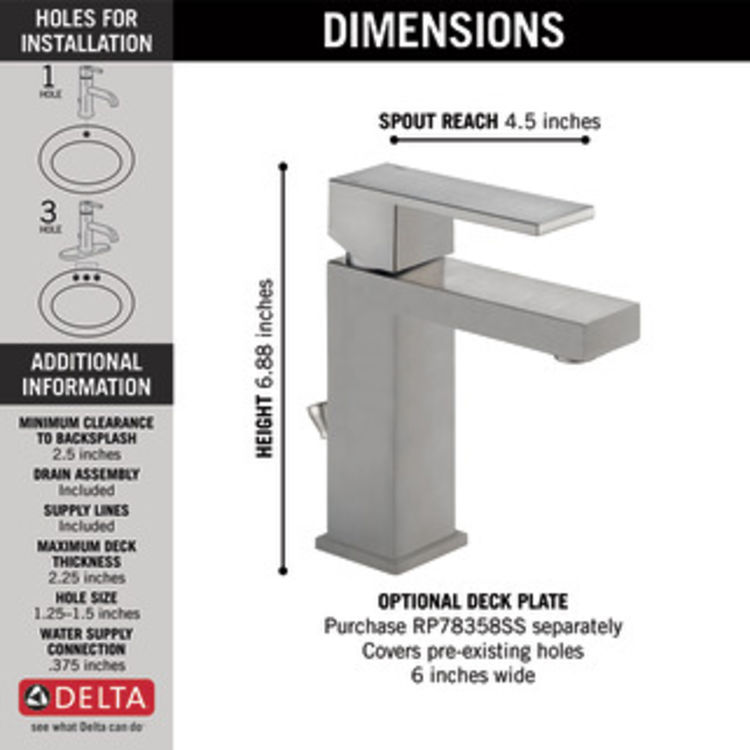 View 5 of Delta 567LF-SSPP Delta 567LF-SSPP Modern Single-Handle Project-Pack Lavatory Faucet, Stainless