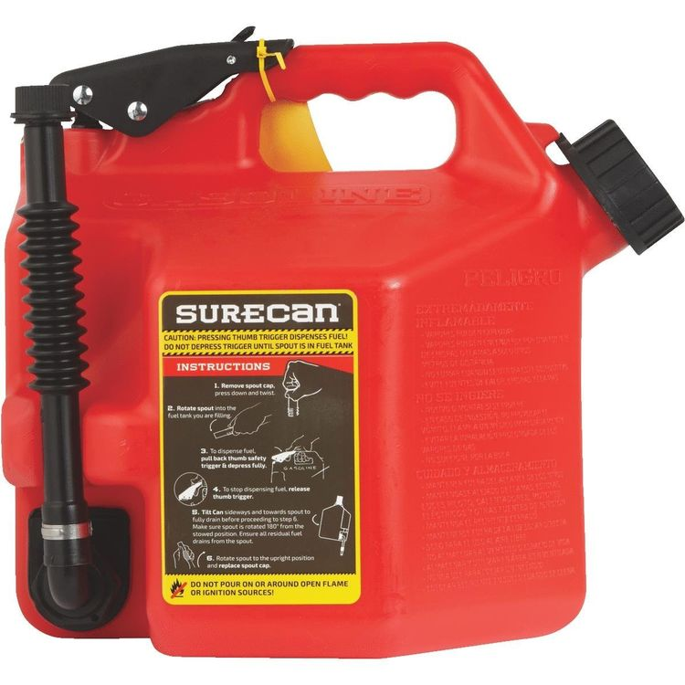 View 4 of SureCan SUR22G1 SureCan 2.2 Gallon Red Gas Can for Gasoline - SUR22G1