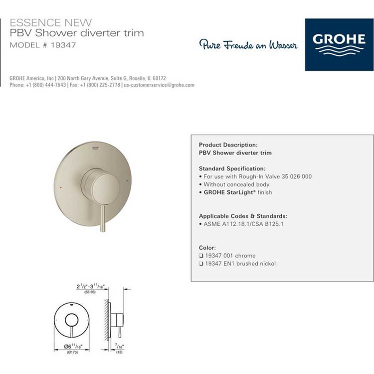 View 3 of Grohe 19347EN1 Grohe 19347EN1 Essence One-Function Pressure Balance Valve Trim, Brushed Nickel