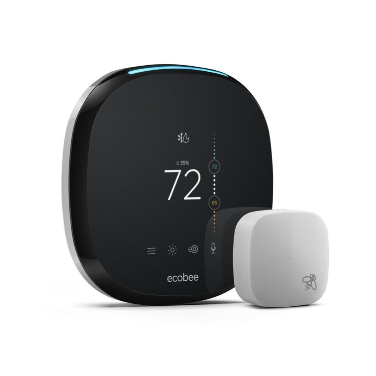 View 3 of Ecobee EB-STATE4P-01 ecobee4 Smart Thermostat w/ Built-In Alexa and Room Sensor - EB-STATE4-01