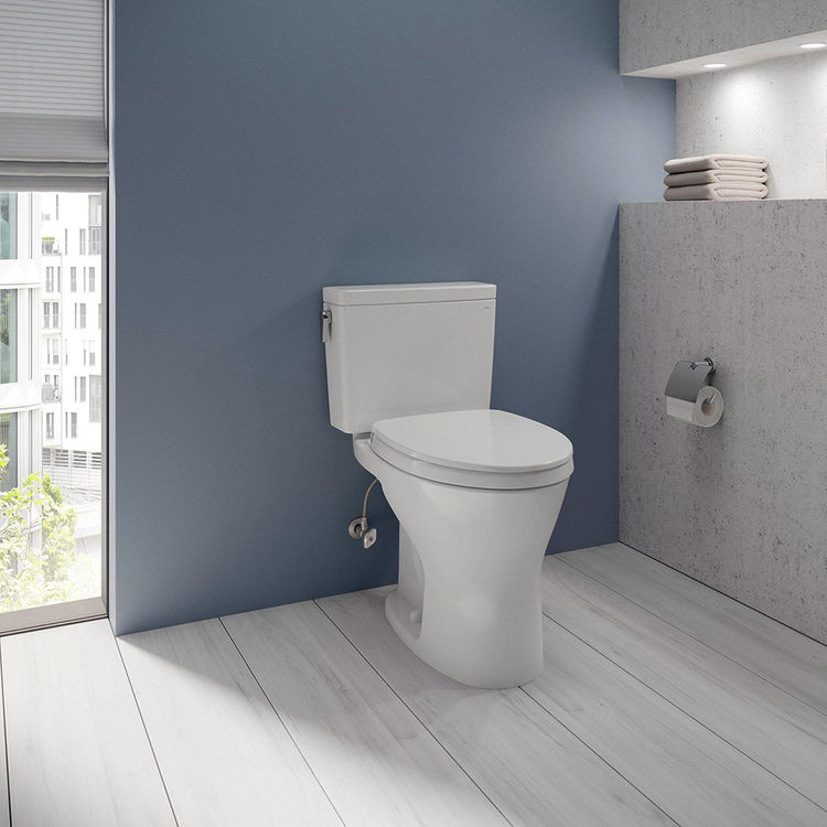 View 4 of Toto CST746CSMFG#01 TOTO CST746CSMFG#01 Drake Two-Piece Toilet 1.6 GPF & 0.8 GPF Elongated Bowl Universal Height -  Cotton White
