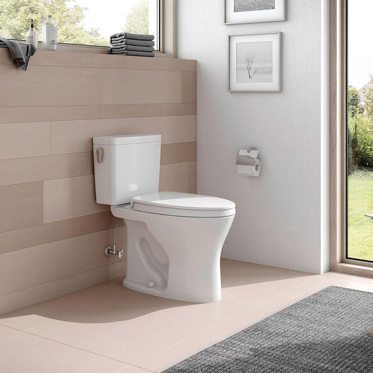 View 5 of Toto CST746CEMFG#01 TOTO Drake Two-Piece Elongated Dual Flush 1.28 and 0.8 GPF Universal Height DYNAMAX TORNADO FLUSH Toilet with CEFIONTECT, Cotton White - CST746CEMFG#01