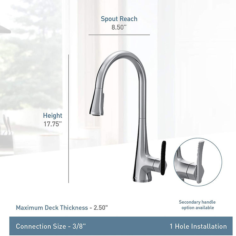 View 7 of Moen S7235 Moen S7235 Sinema One-Handle Pulldown Kitchen Faucet - Chrome