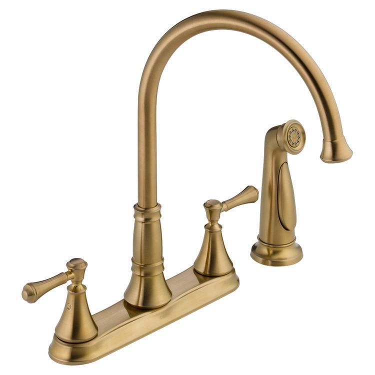 delta 2497lf cz champagne bronze two handle kitchen faucet two holes dual handle kitchen faucet with sprayer f8268s