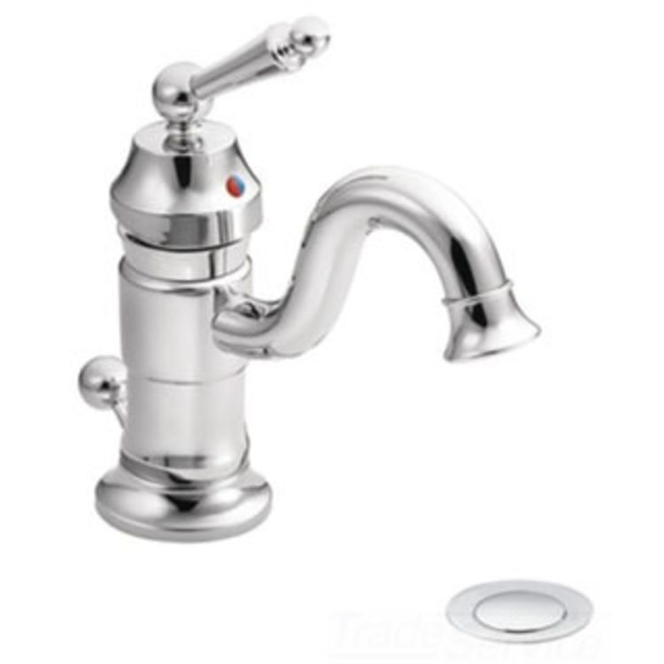 Moen S411 Chrome Ada Bath Sink Faucet With Drain Assembly Single Lever Handle