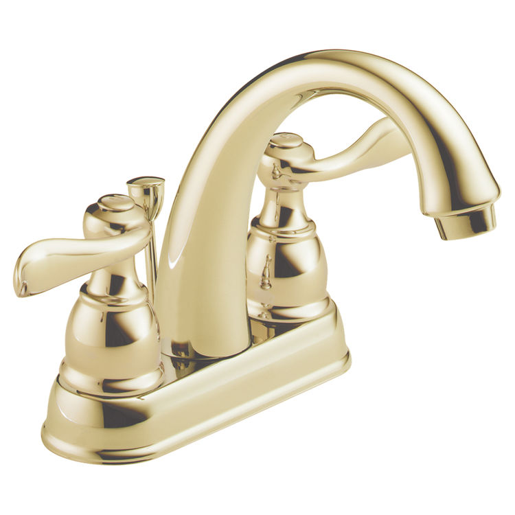 Delta B2596LF PB Windemere Two Handle Lav Faucet Polished Brass