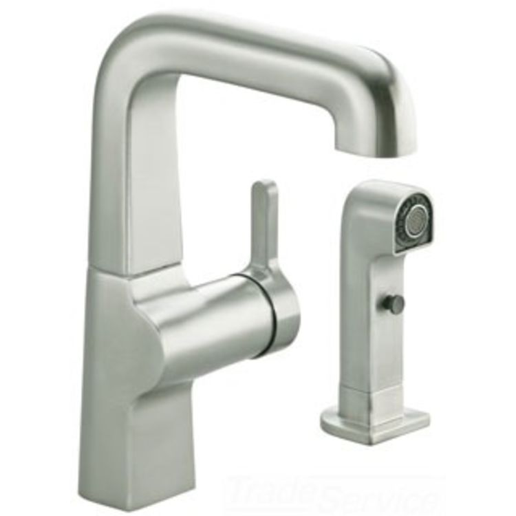 Commercial Sink Sprayer Parts : ... VS Evoke Second Kitchen Faucet with Spray - Stainless PlumbersStock